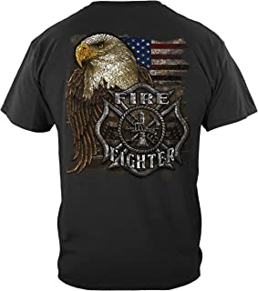 Firefighter T Shirt Fire Fighter - First Responder Eagle Flag Tshirt