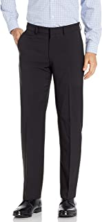 Men's Flat Front Dress Trousers with Stretch
