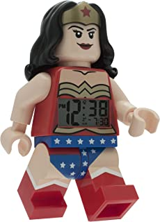Lego DC Comics 9009877 Super Heroes Wonder Woman Kids Minifigure Light up Alarm Clock | red/Blue | Plastic | 9.5 inches Tall | LCD Display | boy Girl | Official