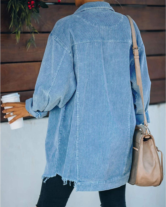 Hixiaohe Women's Casual Oversized Button Down Corduroy Shirt Jacket Coat Washed Retro Shacket
