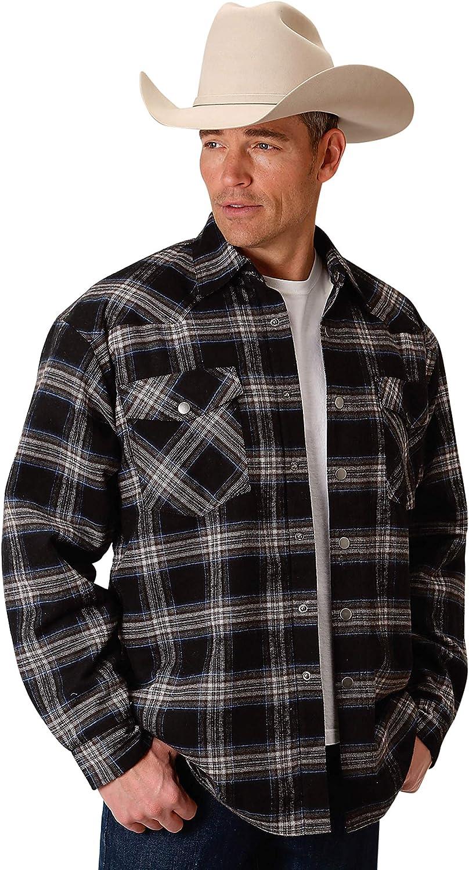Roper Men's Tall Man Shirt Jac Lined Snap Jacket 0719-4682, Black- 2X-Large Tall