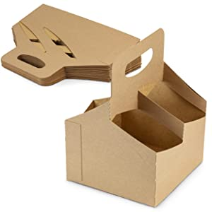 [25 Pack] 4 Cup Drink Carrier with Handle - Kraft Paperboard Handled Drink Carriers 12-30 oz to Go Coffee Cup Holder, for Hot and Cold Cup Carrier, Takeout, Cafe and Restaurant Food Service Delivery