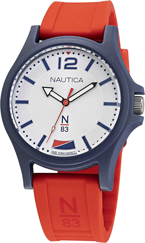 Nautica Max 44% OFF Men's Quartz Silicone Strap low-pricing Red 20 Watch Casual Model