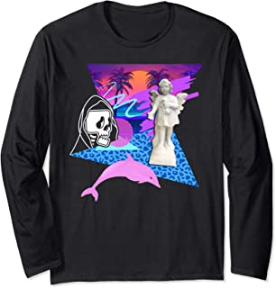 Vaporwave Reaper Horror Angel Statue Dolphin Creepy Palm Long Sleeve T-Shirt