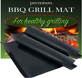 BBQ Grill Mat by Dutch Goods - Set of 2 – 100% Non-Stick Barbecue Mats for Healthy Grilling and Baking. Reusable, Dishwasher Safe Sheets, Perfect for Gas, Charcoal, Electric Grills and Ovens.