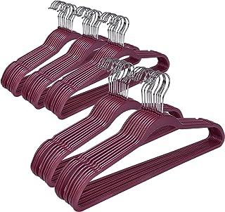 Quality Plastic Non Velvet Non-Flocked 50-Pack Thin Compact Hangers 360 Degree Swivel Hook (Raspberry Color, 50)