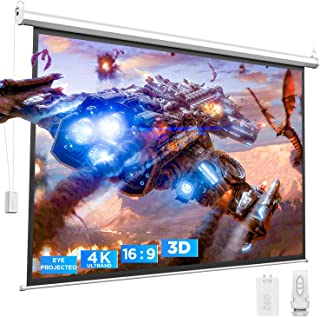 Bomaker 4K HD Motorized Projector Screen, Eyes Protected, 3D Projection Screen 100'', Wrinkle Free Video Electric Movie Sc...