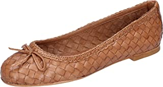 SHOCKS Ballet Flats Womens Leather Brown