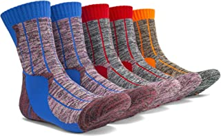 JIYE Men's Hiking Socks 5 Pairs Performance Outdoor Sports Trekking Crew
