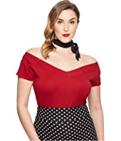 Unique Vintage Plus Size Stretch Knit Cap Sleeve Deena Top