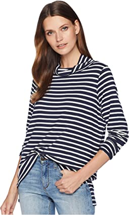 Stripe Jersey Turtleneck