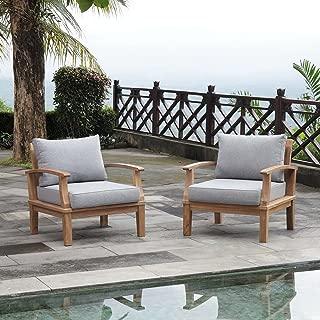 Modway EEI-1819-NAT-GRY-SET Marina Premium Grade A Teak Wood Outdoor Patio, Two Armchairs, Natural Gray