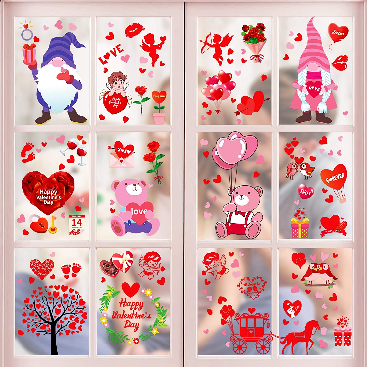 Konsait 140pcs Valentines Day Window Clings Removable Limited time trial Columbus Mall price Win Large