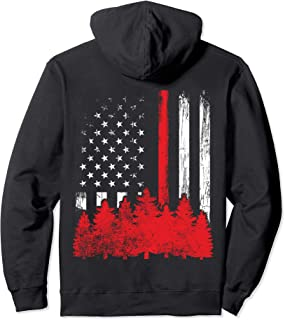 Thin Red Line American Flag Wildland Firefighter Hoodie Gift