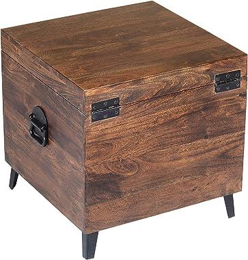 Jofran Landon Solid Acacia Hardwood Storage Chest Trunk, 18''Wx18''Dx18''H, Chestnut