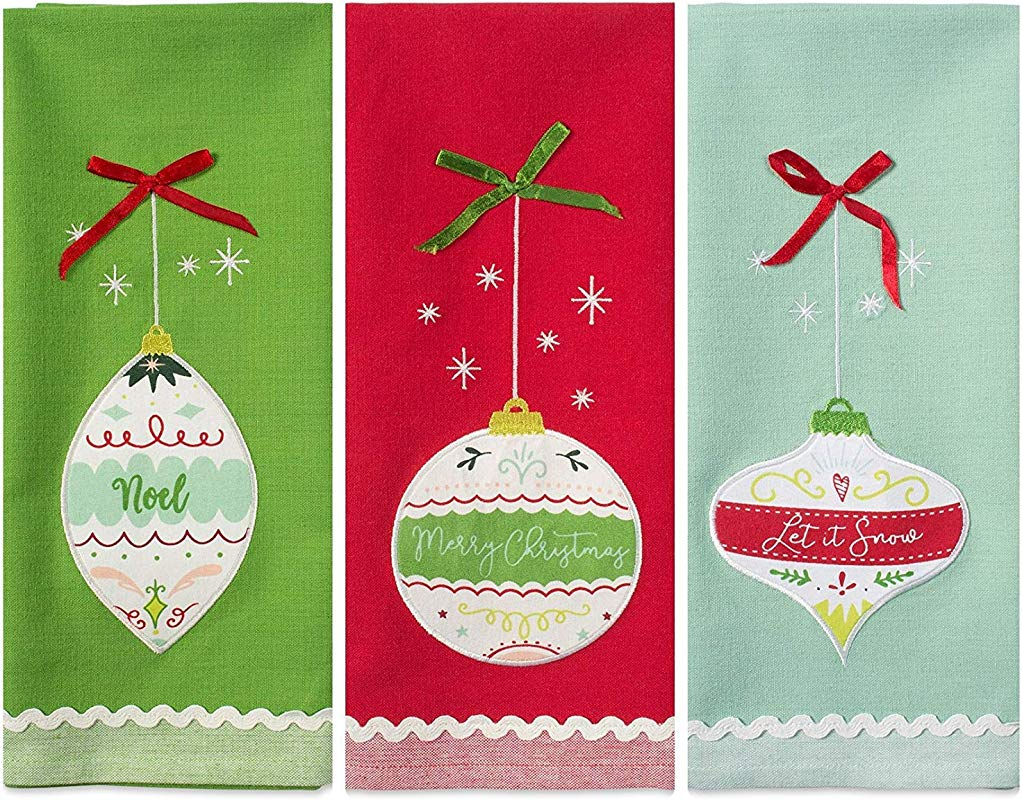 DII Christmas Dishtowel Decorative Oversized Set Of 3 Holiday Ornaments