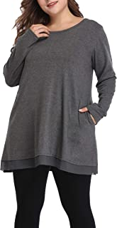 Shiaili Women's Flowy Plus Size Tunic Shirts Long Loose Fit Tops for Leggings