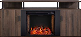 Southern Enterprises Livingvale Fireplace Media Console with Alexa-Enabled Smart Firebox, Brown/Black