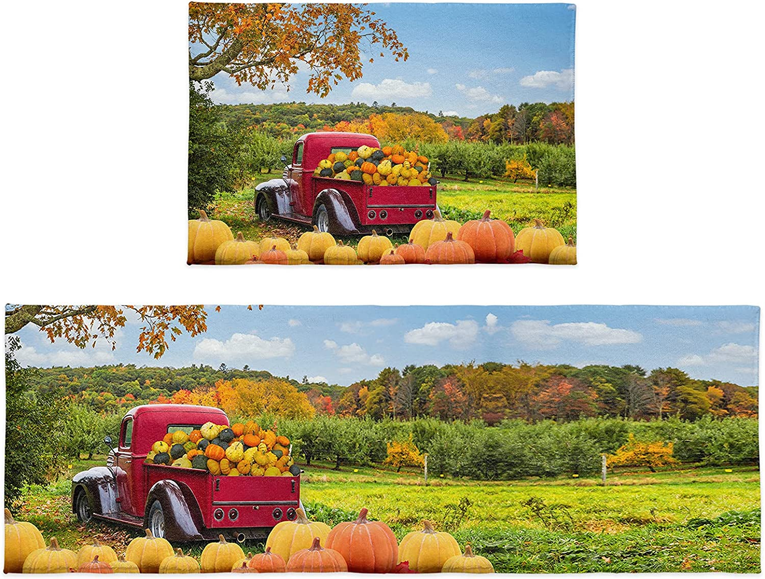2 Pieces Fluffy Ranking TOP12 Plush Ranking TOP12 Kitchen Rugs Thanks Truck Autumn with Farm