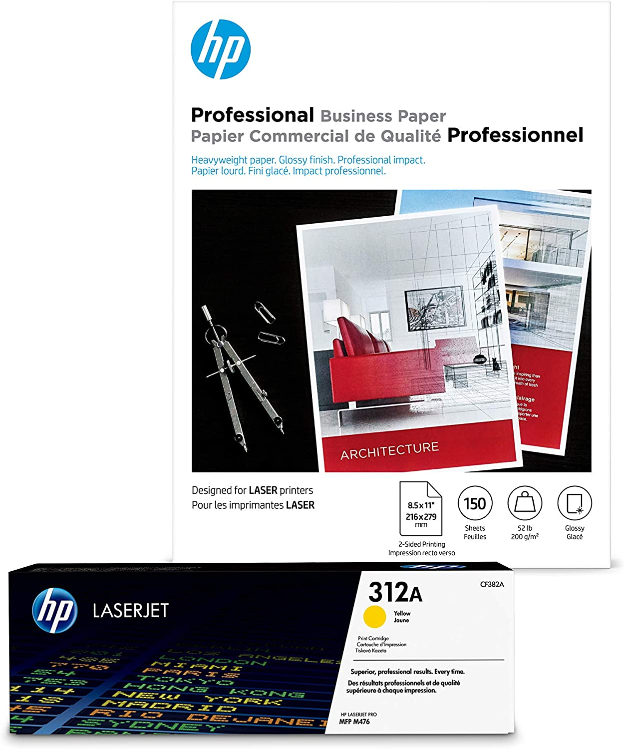 HP Long-awaited 312A Yellow Toner + Brochure Paper 8.5 x Fashion Glossy Laser 1