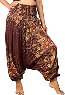 Women's Smocked Waist Aladdin Genie 2 in 1 Harem Pants Jumpsuit