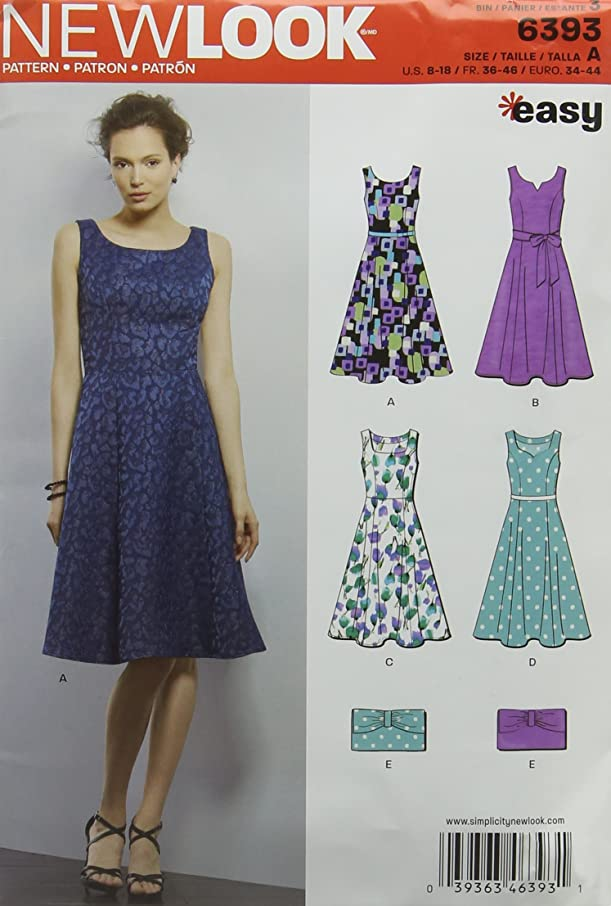 New Look Sewing Pattern UN6393A Autumn Collection Misses' Easy Dress & Purse Sewing Patterns, A (8-10-12-14-16-18)