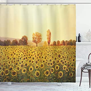"""Ambesonne Landscape Shower Curtain, Sun Flowers Field at Sunset Forest Background with Sun Oil Painting Image, Cloth Fabric Bathroom Decor Set with Hooks, 75"""" Long, Yellow Green"""