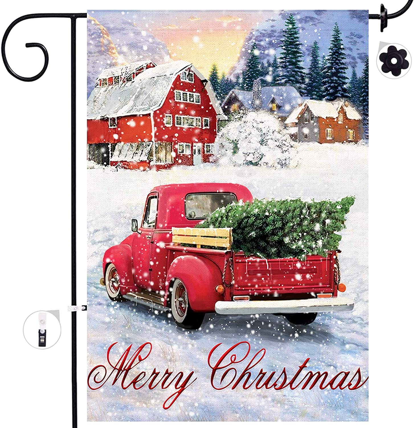 Merry Christmas Winter Signs Rustic Outdoor Decorations Yard 12 x 18 Prime Bonsai Tree Christmas Burlap Garden Flags Double Sided Red Truck with Christmas Tree House Flags