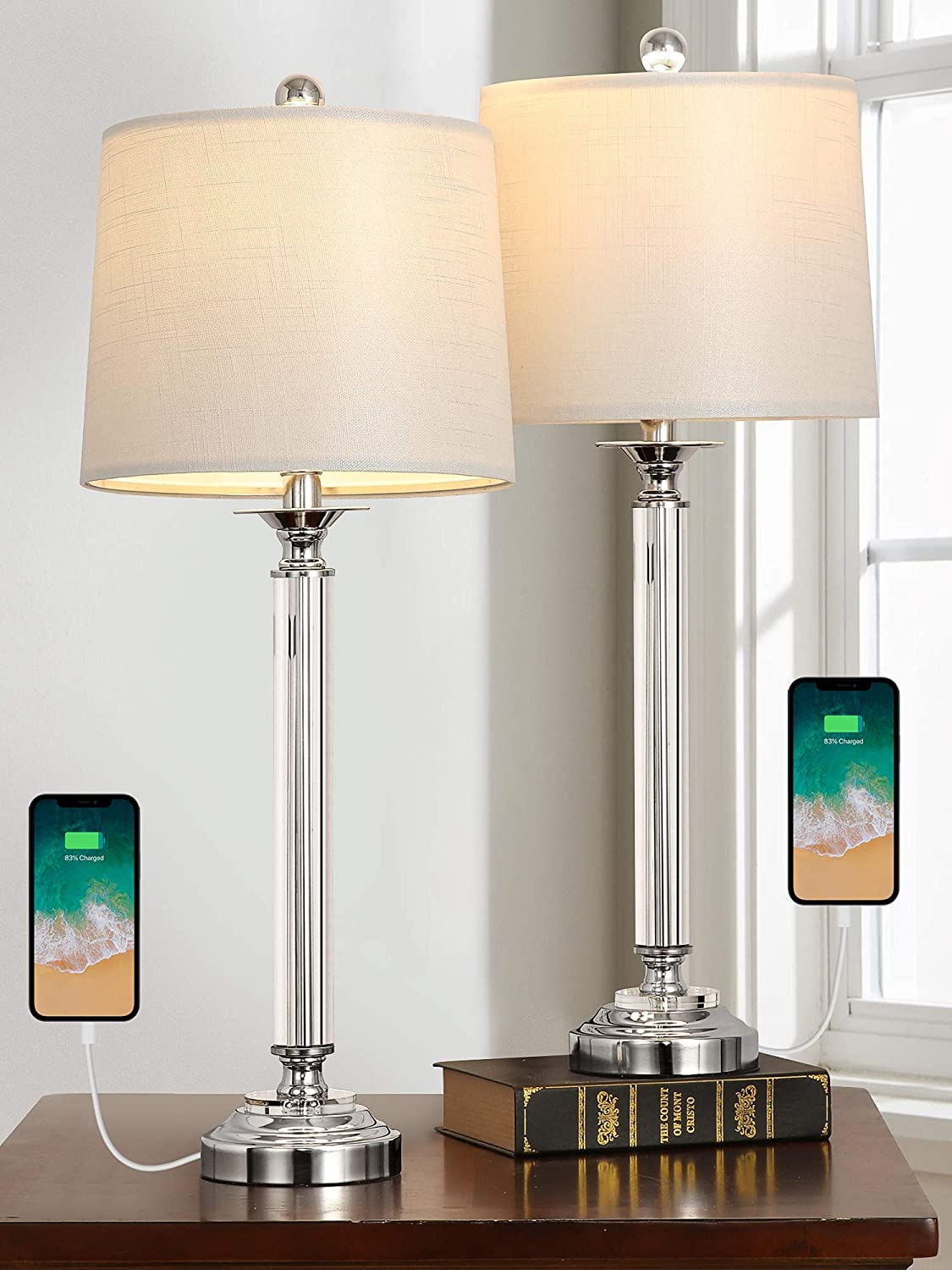 """Oneach USB Crystal Table Lamps New popularity Set Bombing new work of for Beds Living 28"""" Room 2"""