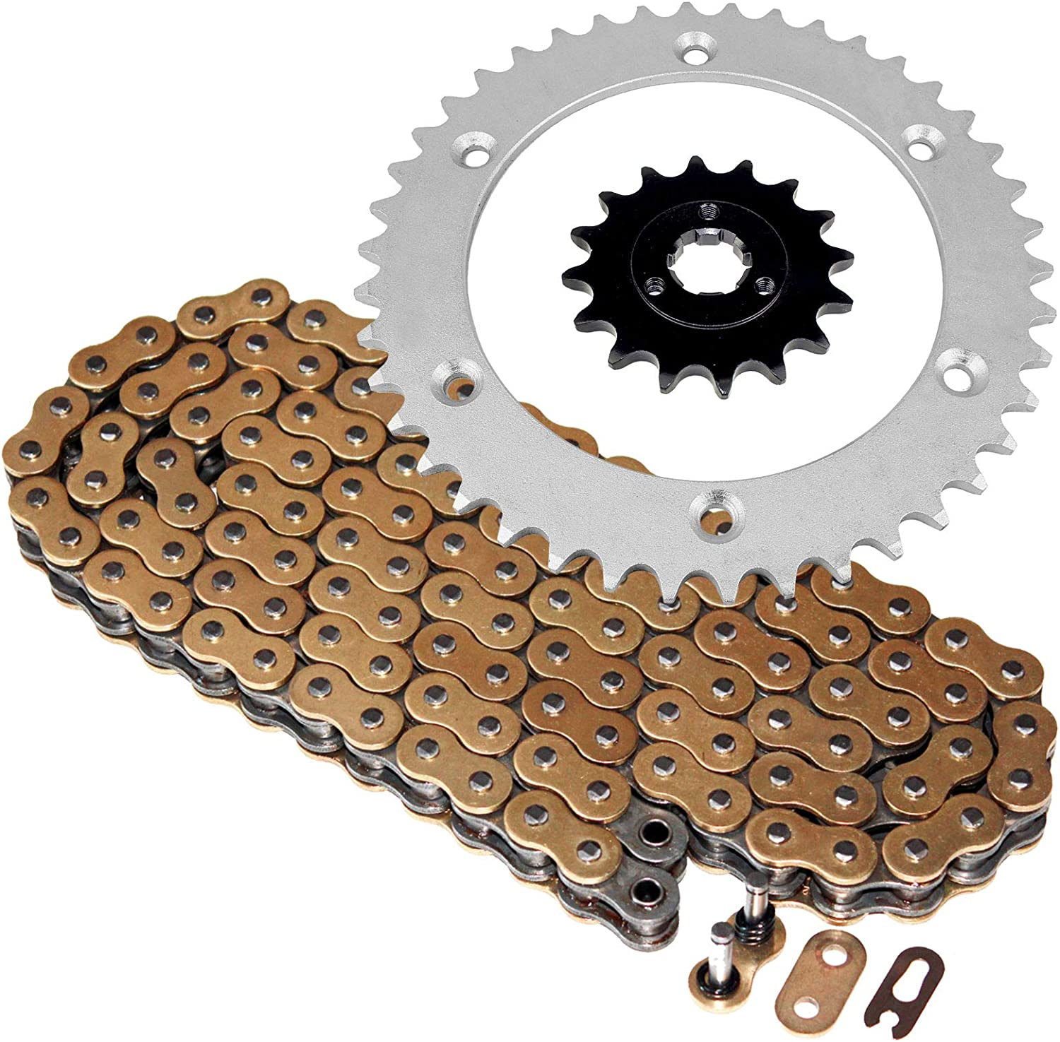 Caltric compatible with Max 73% OFF Gold Cheap mail order specialty store O-Ring Chain Kit Drive Sprockets
