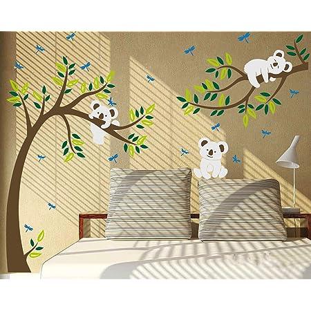 """Autocollant mural Koala sur une branche d'arbre, multicolore, 80""""W x 112""""H"""