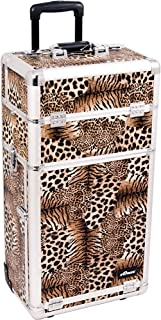 Sunrise Chiodo 2-In-1 Rolling Makeup Case Professional Nail Travel Organizer Box, Leopard, 23 Pound