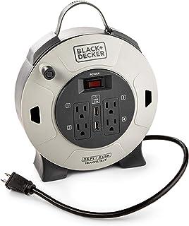 Black + Decker Cable de extensión retráctil, 25 pies, 4 tomas, 2 puertos USB (2.1A), 16 AWG SJT Cable – Carrete compacto con extensión de enchufe múltiple, interruptor de encendido/apagado, rueda de cable de extensión retráctil