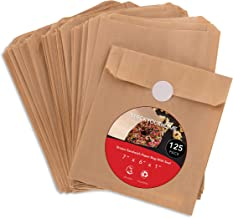 Paper Sandwich Bags Kraft Brown 125 Pack Includes White Round Stickers for Sealing - Unbleached Compostable Natural Kraft Paper Stock Sandwich Bags for Bakery, Sandwiches, Restaurants, Catering, Lunch