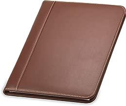 Samsill Contrast Stitch Leather Padfolio – Portfolio Folder/Business Portfolio for Men & Women – Resume Document Organizer, 8.5 x 11 Writing Pad, Tan