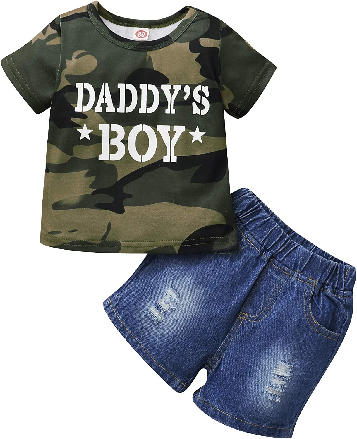 Baby Boy Clothes Toddler Baby Boy Clothes Shirt Top Denim Shorts Summer Infant Outfit Set