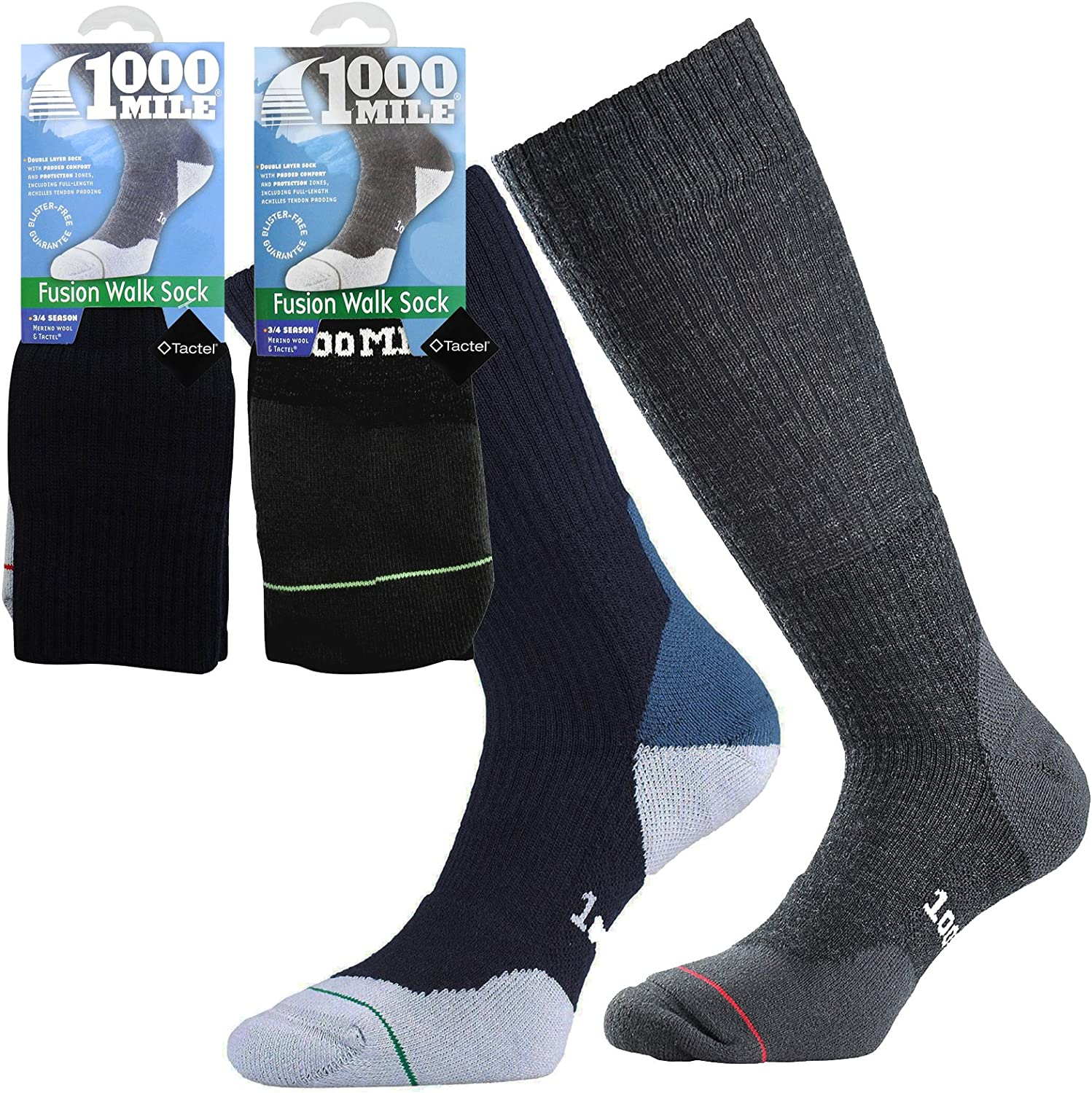 1000 Mile Men/'s Fusion Services Anti-Blister Walking Socks with Achilles Support
