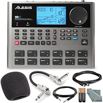Alesis SR18 18 Bit Portable Drum Machine with Effects and Accessory Bundle w/Cables + Fibertique Cloth + Mic Windscreen