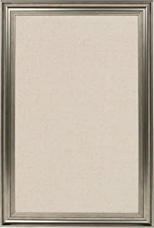 DesignOvation Macon Framed Linen Fabric Pinboard, 18x27, Pewter