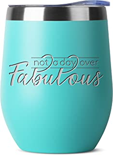 Not A Day Over Fabulous Birthday Gifts for Women Men | Mint 12 oz Insulated Stainless Steel Tumbler w Lid | Mom Dad Wife Husband Him Her Bday Gift | Wine Coffee Cup | Party Decorations Tumblers