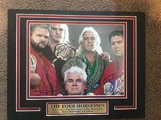 WWE WCW FOUR HORSEMEN 11X14 Matted Namplate PHOTO AUTOGRAPH JSA Arn Flair HOF