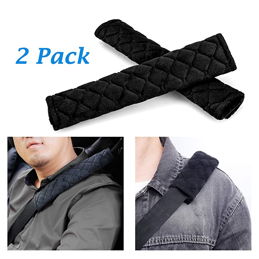 LUXEAR Car Seat Belt Pad Cover 2 Pack Car Safety Seat Belt Strap Shoulder Pad Protect You Neck Shoulder from The Seat Belt Rubbing Suitable Car Seat Belt, Backpack, Shoulder Bag (Black)