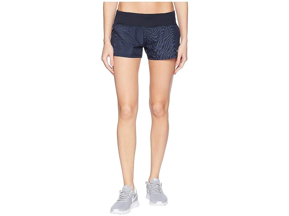 Nike Dry Crew Print Shorts (Thunder Blue/Dark Obsidian) Women