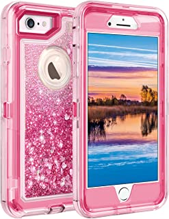 Coolden Case for iPhone 6S Plus Case Protective Glitter Case for Women Girls Cute Floating Liquid Heavy Duty Hard Shell Shockproof TPU Case for 5.5 Inches iPhone 6 Plus 7 Plus 8 Plus, Pink