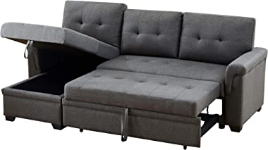 Lilola Home 81342 Sectional, Steel Gray,Linen