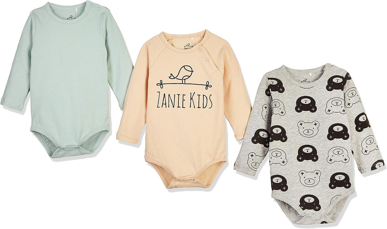 Zanie Kids Baby Boy's Long Sleeves Print Bodysuit Snap Closure C