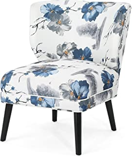 Christopher Knight Home Roger Modern Farmhouse Accent Chair, Matte Black, Blue Checkerboard