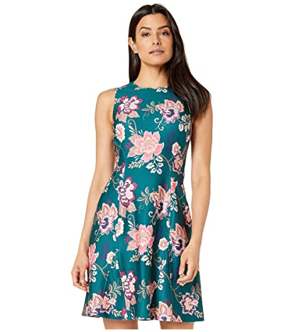 Vince Camuto Printed Scuba Fit and Flare Dress (Green Multi) Women