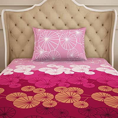 Spaces Atrium Pink & White Geometric 1 Single Bed Sheet With1 Pillow Covers