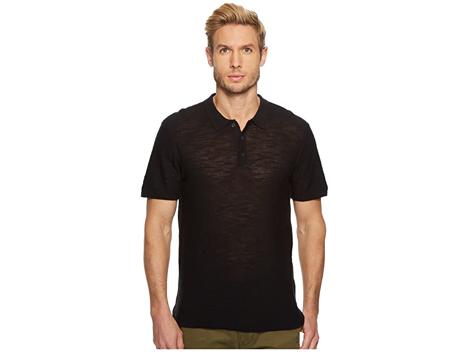 7 For All Mankind Short Sleeve Sweater Polo (Black) Men